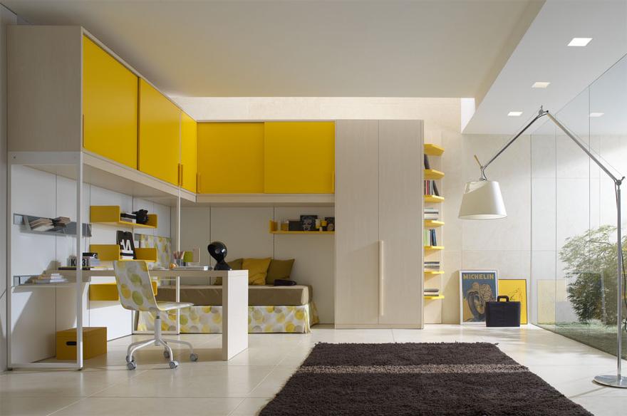 Những mảng màu mạnh chính là điểm nhấn, làm cho không gian trở nên sống động, tương phản với gam màu trung tính của trần và sàn