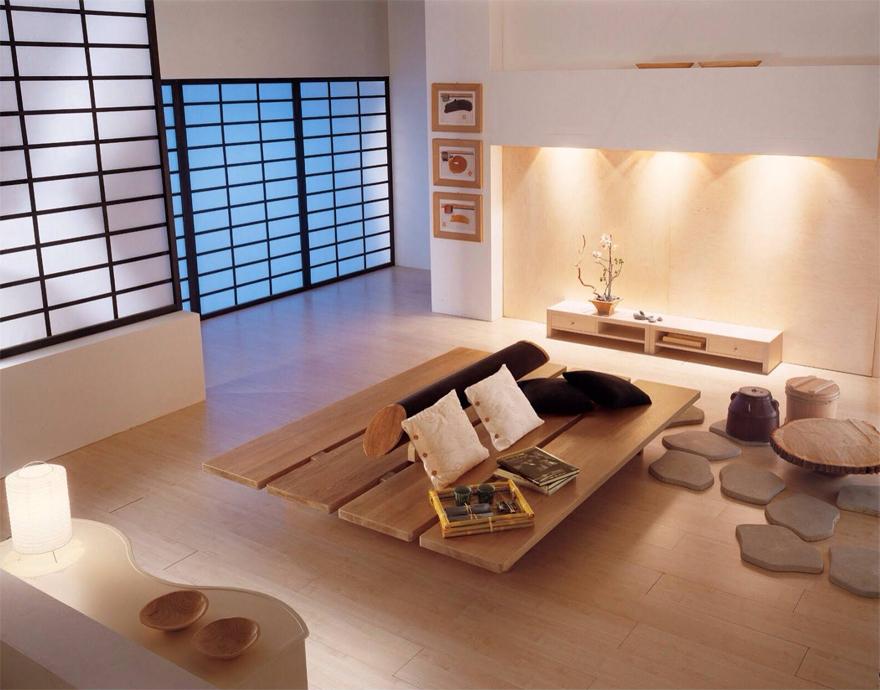 Đồ nội thất thường đơn giản, dựa trên các hình khối vuông tròn